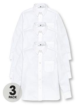 V by Very V By Very Girls 3 Pack Long Sleeve School Shirts - White Picture