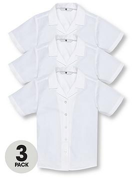 V by Very V By Very Girls 3 Pack Revere Collar Short Sleeve School Shirts  ... Picture