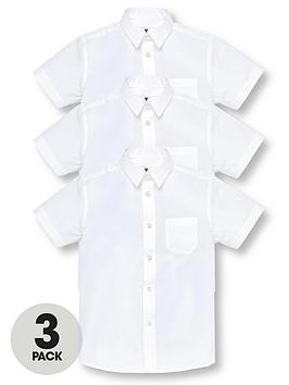 V by Very V By Very Boys 3 Pack Short Sleeved School Shirts - White Picture