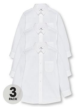 V by Very V By Very Boys 3 Pack Long Sleeved Slim School Shirts - White Picture