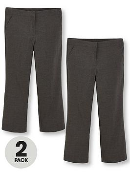V By Very Schoolwear Girls Woven Plus Fit School Trousers  Grey (2 Pack)
