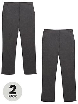 V By Very Schoolwear Girls Woven Regular Fit School Trousers  Grey (2 Pack)