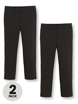 V By Very Schoolwear Girls Woven Regular Fit School Trousers  Black (2 Pack)