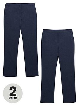 V By Very Schoolwear Girls Woven Regular Fit School Trousers  Navy (2 Pack)