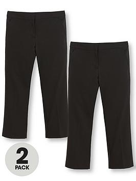 V By Very Schoolwear Girls Woven Plus Fit School Trousers  Black (2 Pack)