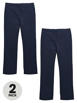 V By Very Schoolwear Girls Woven Plus Fit School Trousers  Navy (2 Pack)