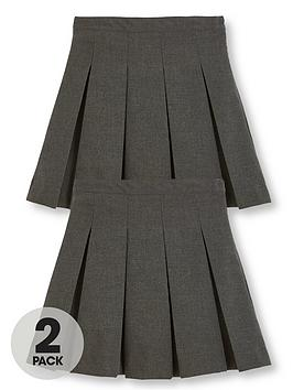 V by Very V By Very Girls 2 Pack Classic Pleated Woven School Skirts - Grey Picture