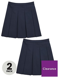 v-by-very-girls-2-pack-classic-pleated-woven-school-skirts-navy