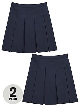 V by Very V By Very Girls 2 Pack Classic Pleated Woven School Skirts - Navy Picture