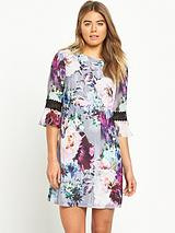 Floral Shift Dress with Crochet Trim Sleeves