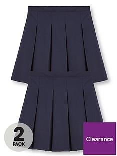 v-by-very-girls-2-pack-classic-pleated-woven-plus-fit-school-skirts-navy