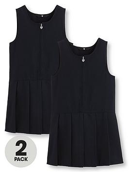 V by Very V By Very Girls 2 Pack Pleated Pinafore School Dresses - Navy Picture