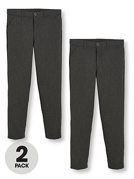V by Very V By Very Boys 2 Pack Slim Fit School Trousers - Grey Picture