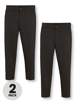 V by Very V By Very Boys 2 Pack Slim School Trousers - Black Picture