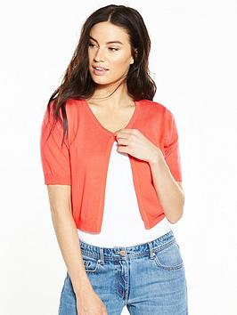 V By Very Short Cropped Cardigan  Coral