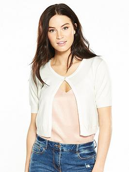 V By Very Short Cropped Cardigan  Ivory