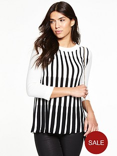 v-by-very-crew-neck-pleated-stripe-jumper