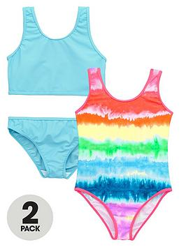 V By Very Girls Tie Dye Swimsuits And Blue Tankini Set (2 Pack)