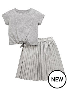 v-by-very-metallic-skirt-and-tie-tee-set