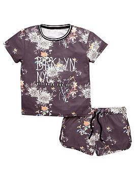 V By Very Girls Floral Sports TShirt And Shorts Set