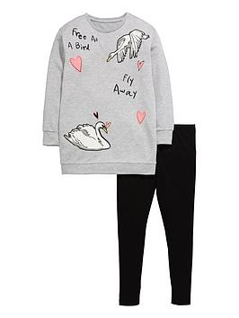 V By Very Girls Swan Embroidered Jumper And Leggings Set (2 Piece)