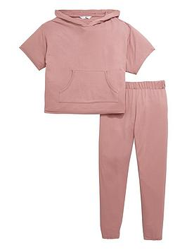 V By Very Girls Hoody And Bottoms Loungewear Set  Pink (2 Piece)
