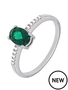 love-diamond-sterlingnbspsilver-diamond-set-created-emerald-ring