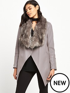 river-island-pu-waterfall-coat-grey