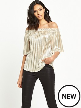 river-island-metallic-bardot-top