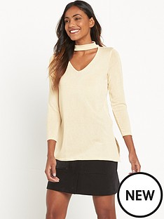 river-island-cream-jumper-with-choker
