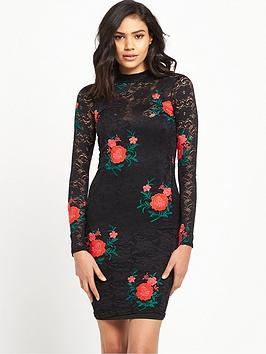 river-island-long-sleeve-bodycon-dress-with-embroidery