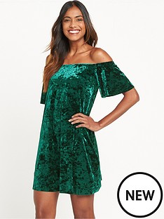 river-island-river-island-emerald-velvet-plisse-bardot-mini