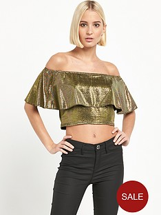 river-island-bardot-frill-crop-top-gold