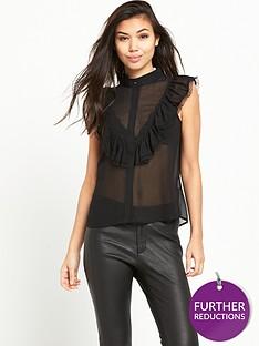 glamorous-ruffle-sleeveless-blouse-black