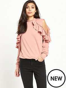glamorous-cold-shoulder-ruffle-sweat-dusty-pink