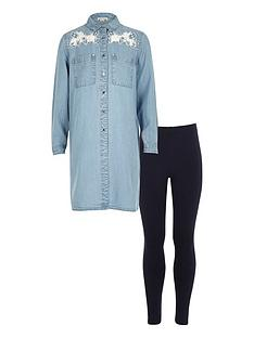 river-island-girls-lace-detail-denim-shirt-and-leggings-set