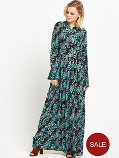 glamorous-floral-high-neck-maxi-dress