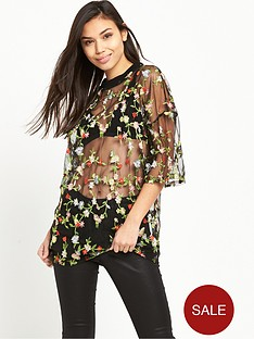 glamorous-floral-net-t-shirt