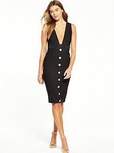 rare-button-front-plunge-midi-dress-black