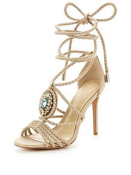 Hudson London Hudson Tie Up Jewel Heeled Sandal