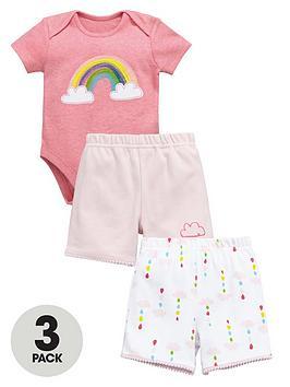 Ladybird Baby Girls 3Pc Bodysuit &Amp Shorts Set