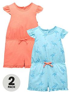 mini-v-by-very-girls-2pk-frill-shoulder-flamingo-playsuits