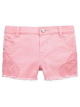 Mini V By Very Toddler Girls Crochet Trim Denim Shorts &Ndash Pink