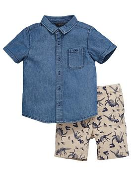 Mini V By Very Toddler Boys Denim Shirt And Dino Printed Shorts Set (2 Piece)
