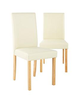 Very Pair Of Lucca Faux Leather Dining Chairs Picture