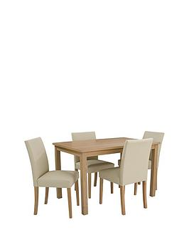 Very Primo 120 Cm Dining Table + 4 Faux Leather Chairs Picture