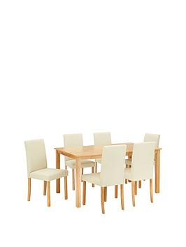 Very Primo 150 Cm Dining Table + 6 Faux Leather Chairs Picture