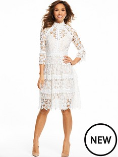 myleene-klass-three-quarter-sleeve-lace-midi-dress-whitenude