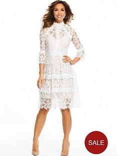 myleene-klass-three-quarter-sleeve-lace-midi-dress-whitenude