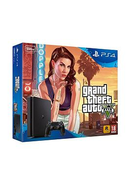 playstation-4-slim-500gb-black-console-with-grand-theft-auto-v-plus-optional-extra-controller-andor-12-months-playstation-network
